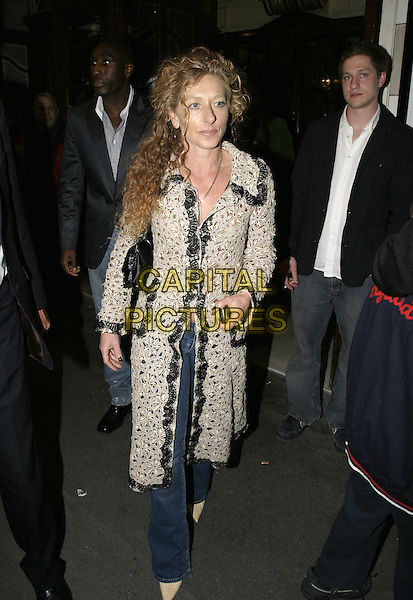 KELLY HOPPEN.Billy Elliot: The Musical - GAP Gala Night.Victoria Palace Theatre, London SW1.April 21st, 2005.full length white embroidered coat stitching.www.capitalpictures.com.sales@capitalpictures.com.© Capital Pictures.