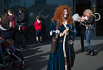 A woman dressed as Merida from Brave entertaining children outside the Globe Arena before Morecambe hosted Plymouth Argyle in a League 2 fixture. The stadium was opened in 2010 and replaced Morecambe's traditional home of Christie Park which had been their home since 1921, the year after their foundation. Plymouth won this fixture by 2-0 watched by 2,081 spectators, in a game delayed by 30 minutes due to traffic congestion affecting travelling Argyle fans.