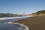 San Francisco: Baker Beach with Golden Gate Bridge in background.  Photo # 2-casanf76347.  Photo copyright Lee Foster