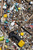 Rubbish among pebbles on beach, Boca de Yuma, Dominican Republic