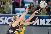 04.09.2016 Silver Ferns Katrina Grant and Australia's Madi Robinson in action during the Netball Quad Series match between the Silver Ferns and Australia played at Margaret Court Arena in Melbourne. Mandatory Photo Credit ©Michael Bradley.