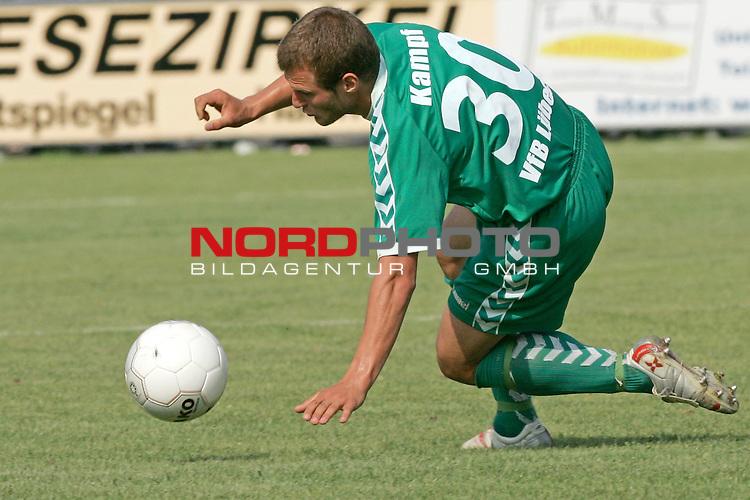 RLN 05 / 06 - 8. Spieltag<br /> <br /> Kickers Emden vs VFB Luebeck<br /> <br /> Lars Kampf / LŁbeck - Kniefall und Ratlosigkeit am Boden liegend und schaut dem Ball hinterher<br /> <br /> Foto &copy; nordphoto <br /> <br /> <br /> <br />  *** Local Caption *** Foto ist honorarpflichtig! zzgl. gesetzl. MwSt.<br /> <br />  Belegexemplar erforderlich