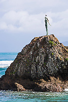 'The Lady on the Rock' remembering the Maori women of Mataatua, Whakatane Bay, Bay of Plenty, North Island, New Zealand