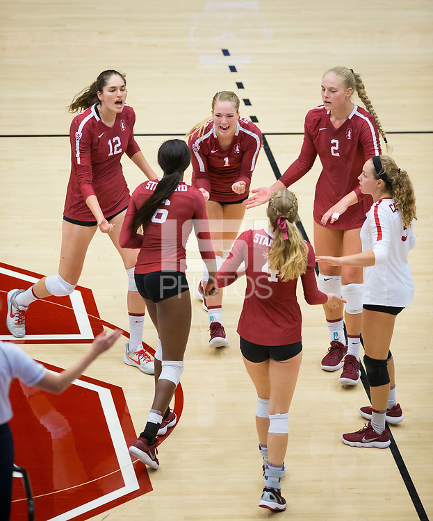 STANFORD, CA - September 9, 2018: Jenna Gray, Audriana Fitzmorris, Tami Alade, Kathryn Plummer, Morgan Hentz, Meghan McClure at Maples Pavilion. The Stanford Cardinal defeated #1 ranked Minnesota 3-1 in the Big Ten / PAC-12 Challenge.