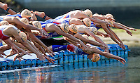 25 JUN 2011 - PONTEVEDRA, ESP - Competitors dive into the water for the start of the Elite Men's European Triathlon Championships in Pontevedra, Spain (PHOTO (C) NIGEL FARROW)