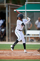 GCL Marlins Nasim Nunez (1) at bat during a Gulf Coast League game against the GCL Astros on August 8, 2019 at the Roger Dean Chevrolet Stadium Complex in Jupiter, Florida.  GCL Astros defeated GCL Marlins 4-2.  (Mike Janes/Four Seam Images)