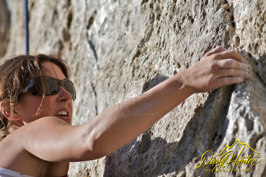 Woman, rock climber, Jackson Hole, Wyoming
