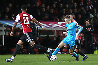 Jack Taylor of Barnet takes on the Brentford defence during Brentford vs Barnet, Emirates FA Cup Football at Griffin Park on 5th February 2019