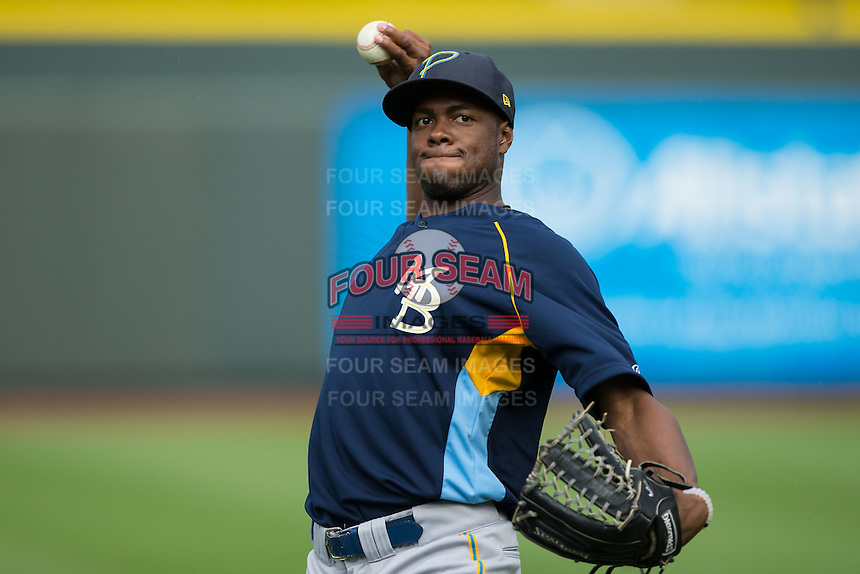 Myrtle Beach Pelicans outfielder Trey Martin (52) warms up in the outfield prior to the game against the Winston-Salem Dash at BB&T Ballpark on May 2, 2016 in Winston-Salem, North Carolina.  The Pelicans defeated the Dash 3-2 in 11 innings.  (Brian Westerholt/Four Seam Images)
