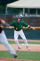 Beloit Snappers shortstop Nick Allen (2) leads off first base during a game against the Dayton Dragons on July 22, 2018 at Pohlman Field in Beloit, Wisconsin.  Dayton defeated Beloit 2-1.  (Mike Janes/Four Seam Images)