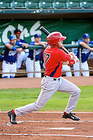 Michael Fish (17) of the Orem Owlz at bat against the Ogden Raptors at Lindquist Field on August 28, 2013 in Ogden Utah.  (Stephen Smith/Four Seam Images)