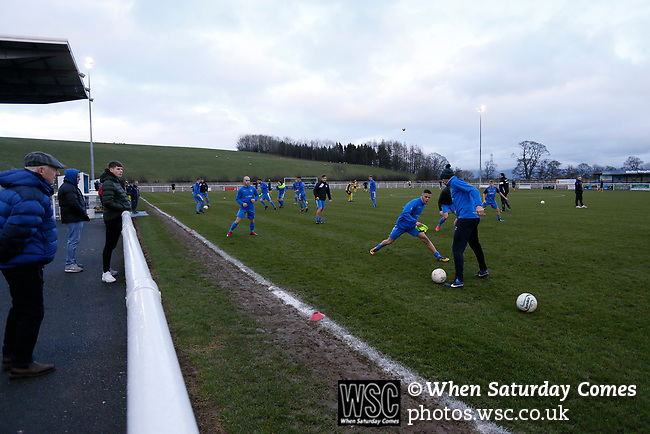 Penrith players  warming up. Penrith AFC V Hebburn Town, Northern League Division One, 22nd December 2018. Penrith are the only Cumbrian team in the Northern League. All the other teams are based across the Pennines in the north east.<br />