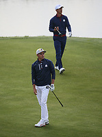Rickie Fowler (Team USA) & /thor on the 9th fairway during Friday's Fourballs, at the Ryder Cup, Le Golf National, Îls-de-France, France. 28/09/2018.<br /> Picture David Lloyd / Golffile.ie<br /> <br /> All photo usage must carry mandatory copyright credit (© Golffile | David Lloyd)