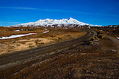 The road leading to the Tukino Alpine Village on the slopes of Mt Ruapehu, Central Plateau, Tongariro National Park, North Island, New Zealand