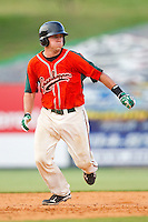 Jacob Realmuto #11 of the Greensboro Grasshoppers takes his lead off of second base against the Kannapolis Intimidators at Fieldcrest Cannon Stadium on June 19, 2011 in Kannapolis, North Carolina.  The Intimidators defeated the Grasshoppers 9-7.   (Brian Westerholt / Four Seam Images)