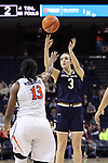 CHARLOTTESVILLE, VA - FEBRUARY 15: Notre Dame's Marina Mabrey (3) shoots over Virginia's Jocelyn Willoughby (13). The University of Virginia Cavaliers hosted the University of Notre Dame Fighting Irish on February 15, 2018 at John Paul Jones Arena in Charlottesville, VA in a Division I women's college basketball game. Notre Dame won the game 83-69.