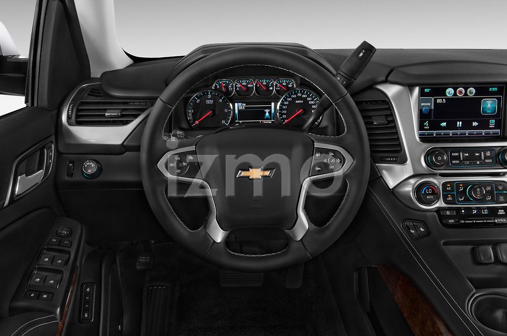 Steering wheel view of a 2015 Chevrolet Tahoe 2WD LT 5 Door SUV