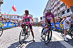 New race leader Nairo Quintana (COL) Movistar Team Maglia Rosa and Fernando Gaviria (COL) Quick-Step Floors Maglia Ciclamino lined up before the start of Stage 20 of the 100th edition of the Giro d'Italia 2017, running 190km from Pordenone to Asiago, Italy. 27th May 2017.<br /> Picture: LaPresse/Gian Mattia D'Alberto | Cyclefile<br /> <br /> <br /> All photos usage must carry mandatory copyright credit (&copy; Cyclefile | LaPresse/Gian Mattia D'Alberto)
