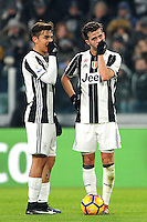 Calcio, quarti di finale di Tim Cup: Juventus vs Milan. Torino, Juventus Stadium, 25 gennaio 2017.<br /> Juventus' Miralem Pjanic, right, talks to his teammate Paulo Dybala before to kick to score on a free kick during the Italian Cup quarter finals football match between Juventus and AC Milan at Turin's Juventus stadium, 25 January 2017.<br /> UPDATE IMAGES PRESS/Manuela Viganti