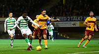 5th February 2020; Fir Park, Motherwell, North Lanarkshire, Scotland; Scottish Premiership Football, Motherwell versus Celtic; Odsonne Edouard of Celtic makes it 1-0 to Celtic in the 8th minute