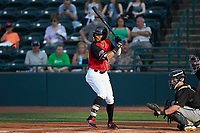 Miguel Aparicio (36) of the Hickory Crawdads at bat against the Kannapolis Intimidators at L.P. Frans Stadium on July 20, 2018 in Hickory, North Carolina. The Crawdads defeated the Intimidators 4-1. (Brian Westerholt/Four Seam Images)