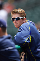 Montgomery Biscuits first baseman Cameron Seitzer (33) in the dugout during a game against the Jackson Generals on April 29, 2015 at Riverwalk Stadium in Montgomery, Alabama.  Jackson defeated Montgomery 4-3.  (Mike Janes/Four Seam Images)
