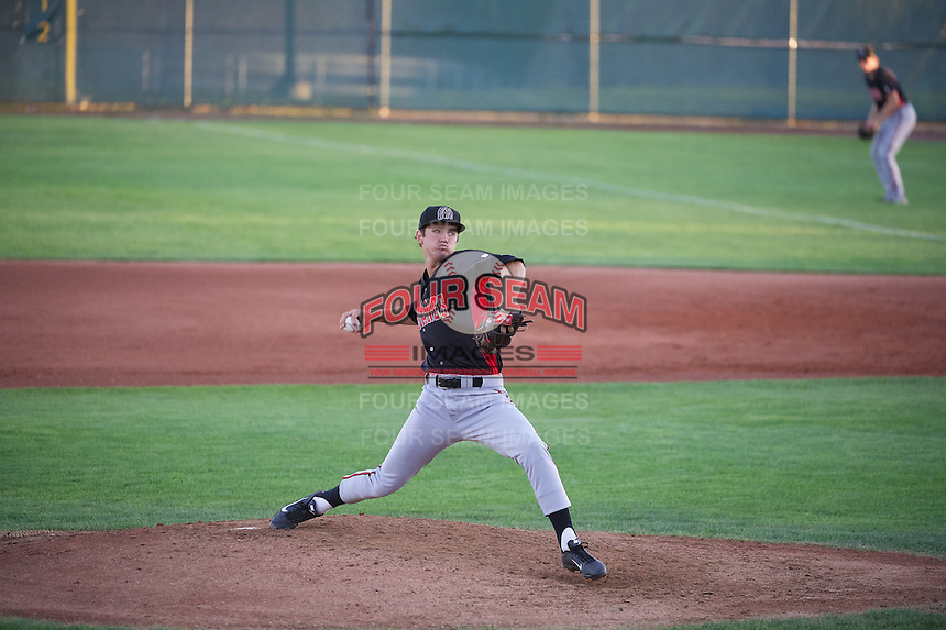 Tyler Mahle (35) of the Billings Mustangs delivers a pitch to the plate against the Orem Owlz in Pioneer League action at Home of the OWLZ on August 15, 2014 in Orem , Utah.  (Stephen Smith/Four Seam Images)