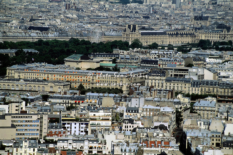 Cityscape view of the Louvre as seen from the Eiffel Tower, Paris, France.