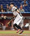 Ichiro Suzuki (Marlins), MAY 18, 2015 - MLB : Miami Marlins batter Ichiro Suzuki watches his 2,873rd major league hit in the fifth inning during the major league baseball game against the Arizona Diamondbacks at Marlins Park in Miami, United States. (Photo by AFLO)