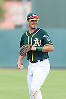 Oakland Athletics shortstop Jeremy Eierman (10) during an exhibition game against Team Italy at Lew Wolff Training Complex on October 3, 2018 in Mesa, Arizona. (Zachary Lucy/Four Seam Images)