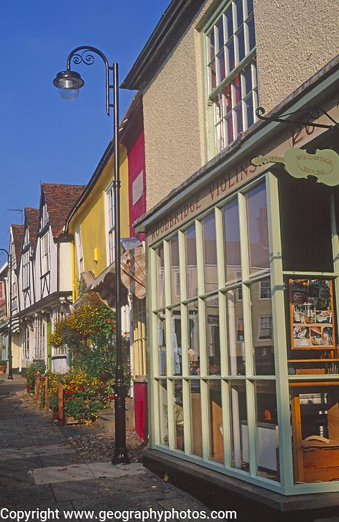 AYBR90 Old traditional shop fronts Woodbridge Suffolk England