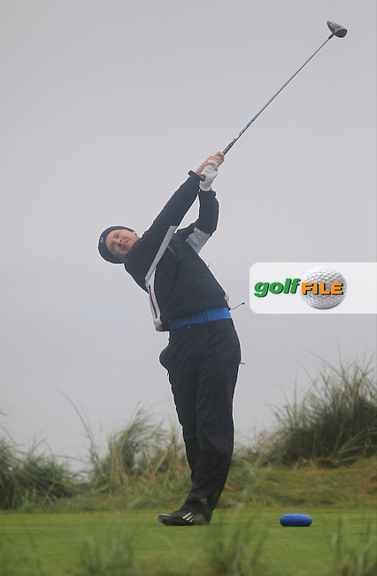 Simon Ward (Co. Louth) on the 4th tee during the South of Ireland Amateur Open Championship Final at Lahinch Golf Club  31th July 2013 <br /> Picture:  Thos Caffrey / www.golffile.ie