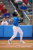 Hudson Valley Renegades left fielder Bryce Brown (1) follows through on a swing during a game against the Tri-City ValleyCats on August 24, 2018 at Dutchess Stadium in Wappingers Falls, New York.  Hudson Valley defeated Tri-City 4-0.  (Mike Janes/Four Seam Images)