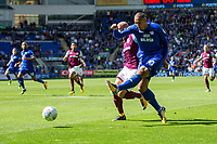 Kenneth Zohore of Cardiff City shoots at goal under pressure from Alan Hutton of Aston Villa during the Sky Bet Championship match between Cardiff City and Aston Villa at the Cardiff City Stadium, Cardiff, Wales on 12 August 2017. Photo by Mark  Hawkins / PRiME Media Images.