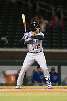 Salt River Rafters third baseman Josh Fuentes (19), of the Colorado Rockies organization, at bat during an Arizona Fall League game against the Mesa Solar Sox at Sloan Park on October 16, 2018 in Mesa, Arizona. Salt River defeated Mesa 2-1. (Zachary Lucy/Four Seam Images)