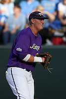 Kevin Cron #00 of the TCU Horned Frogs in the field against the UCLA Bruins at the Los Angeles super regionals at Jackie Robinson Stadium on June 9, 2012 in Los Angeles,California. UCLA defeated TCU 4-1.(Larry Goren/Four Seam Images)