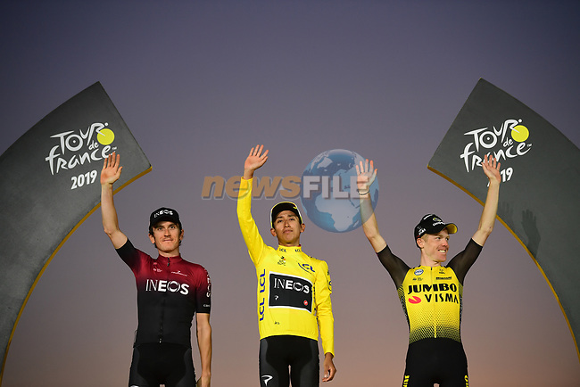 Egan Bernal (COL) Team Ineos wins the overall general classification Yellow Jersey with team mate and defending champion Geraint Thomas (WAL) in 2nd overall and Steven Kruijswijk (NED) Team Jumbo-Visma 3rd on the final podium at the end of Stage 21 of the 2019 Tour de France running 128km from Rambouillet to Paris Champs-Elysees, France. 28th July 2019.<br /> Picture: ASO/Pauline Ballet | Cyclefile<br /> All photos usage must carry mandatory copyright credit (© Cyclefile | ASO/Pauline Ballet)