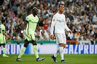 Real Madrid&acute;s Portuguese forward Cristiano Ronaldo<br /> lamenting during the UEFA Champions League match between Real Madrid and Manchester City at the Santiago Bernabeu Stadium in Madrid, Wednesday, May 4, 2016.