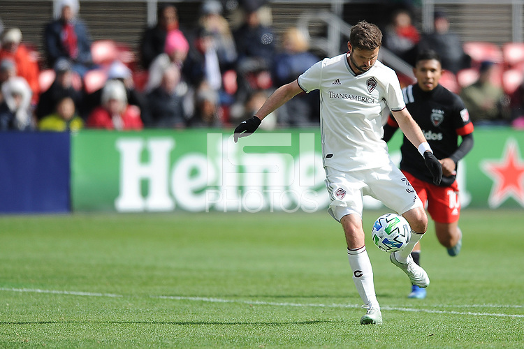 WASHINTON, DC - FEBRUARY 29: Washington, D.C. - February 29, 2020: Drew Moor #3 of the Colorado Rapids moves the ball during a game between D.C. United and the Colorado Rapids. The Colorado Rapids defeated D.C. United 2-1 during their Major League Soccer (MLS)  match at Audi Field during a game between Colorado Rapids and D.C. United at Audi FIeld on February 29, 2020 in Washinton, DC.