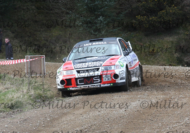 Fraser Wilson / Steven Broll in their Mitsubishi Evolution 6 at Junction 3 on John Lawrie Group Special Stage 5 Fettersso 2 of the Coltel Granite City Rally 2012 which was based at the Thainstone Agricultural Centre, Inverurie.