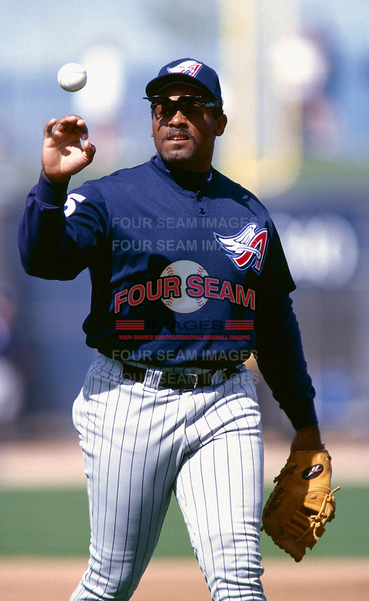 Cecil Fielder of the Anaheim Angels participates in a Major League Baseball Spring Training game during the 1998 season in Phoenix, Arizona. (Larry Goren/Four Seam Images)