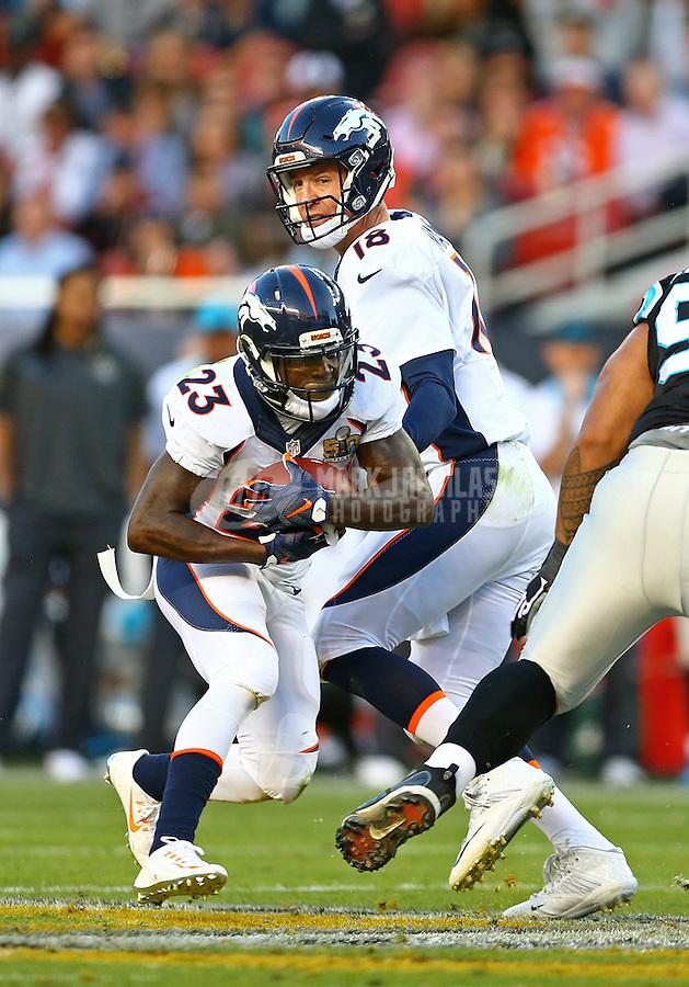 Feb 7, 2016; Santa Clara, CA, USA; Denver Broncos quarterback Peyton Manning (18) hands off the ball to running back Ronnie Hillman (23) against the Carolina Panthers in Super Bowl 50 at Levi's Stadium. Mandatory Credit: Mark J. Rebilas-USA TODAY Sports
