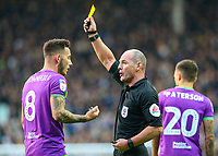 Referee Scott Duncan shows Bristol City's Josh Brownhill a yellow card<br /> <br /> Photographer Alex Dodd/CameraSport<br /> <br /> The EFL Sky Bet Championship - Leeds United v Bristol City - Saturday 24th November 2018 - Elland Road - Leeds<br /> <br /> World Copyright &copy; 2018 CameraSport. All rights reserved. 43 Linden Ave. Countesthorpe. Leicester. England. LE8 5PG - Tel: +44 (0) 116 277 4147 - admin@camerasport.com - www.camerasport.com