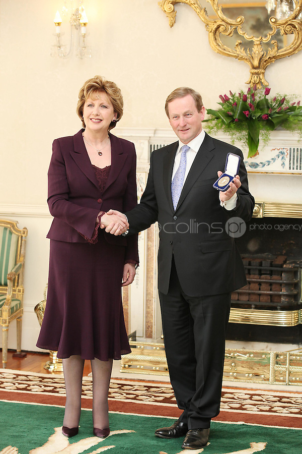 9/3/2011.Taoiseach Enda Kenny is pictured with President Mary McAleese at  Áras an Uachtaráin after receiving his seal of office. Picture James Horan/Collins