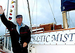 Charles Haughey pictured aboard his boat 'The Celtic Mist' in Dingle prior to  sailing to his Innisvickallaun island. The boat is now for sale with an asking price of only 175,000euro.<br /> Picture by Don MacMonagle