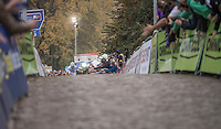 World Champion Wout Van Aert (BEL/Crelan-Vastgoedservice) high-fivin' the crowd on his way up the Koppenberg for the very last time today (winning the race by a significant margin)<br /> <br /> 25th Koppenbergcross 2016