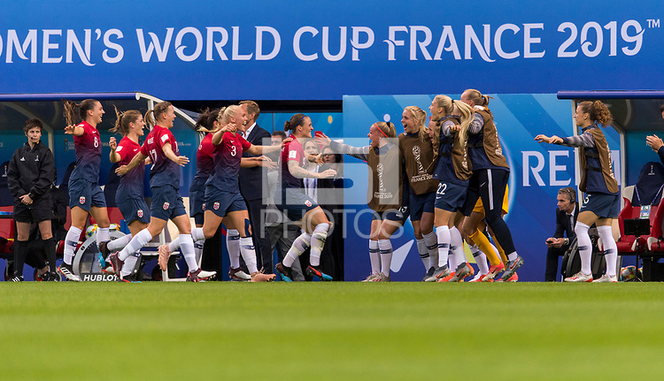 REIMS, FRANCE - JUNE 08: Maria Thorisdottir #3 and Isabell Herlovsen #9 celebrate a goal with teammates during a game between Norway and Nigeria at Stade Auguste-Delaune on June 8, 2019 in Reims, France.