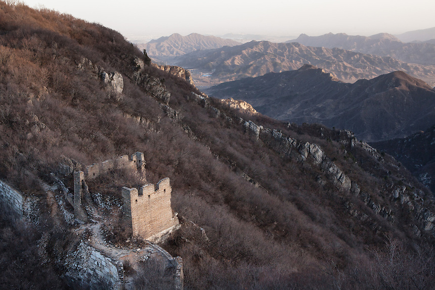 A tower overlooking the steep and mountainous terrain around Jiankou Great Wall.