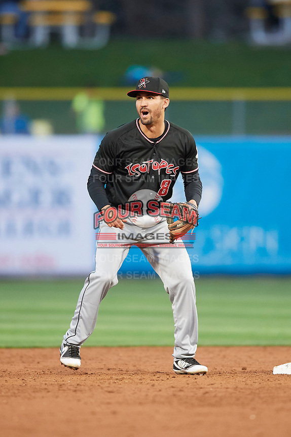 Derrik Gibson (8) of the Albuquerque Isotopes on defense against the Salt Lake Bees at Smith's Ballpark on April 5, 2018 in Salt Lake City, Utah. Salt Lake defeated Albuquerque 9-3. (Stephen Smith/Four Seam Images)