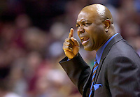 TALLAHASSEE, FL. 2/24/07-Florida State Coach Leonard Hamilton instructs his team during action against N.C. State, Saturday at Donald L Tucker Civic Center in Tallahassee. FSU beat N.C. State 78-52...COLIN HACKLEY PHOTO